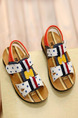 Brown White Colorful Leather Comfort Flip Flops Girl Shoes for Casual Party