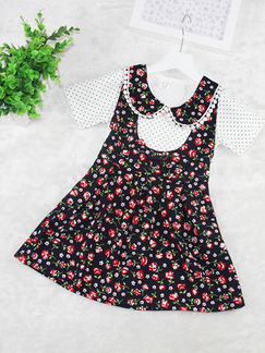 Black and Red Seem-Two A-Line Lapel Linking Floral Contrast Floral Girl Dress for Casual Party