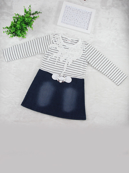 Black  and White Blue Denim Knitted Linking Contrast Stripe Round Neck Hook Flower Decoration Long Sleeve Girl Dress for Casual Party