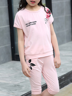 Pink Two-Piece Round Neck Pattern Letter Located Printing Girl Jumpsuit for Casual