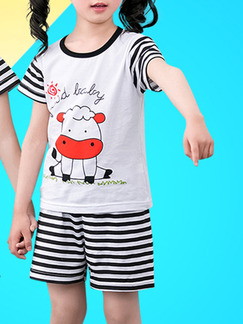 Black and White Red Knitted Two-Piece Contrast Stripe Round Neck Pattern Boy Jumpsuit for Casual