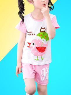 White and Pink Two-Piece Contrast Round Neck Pattern Letter Girl Jumpsuit for Casual