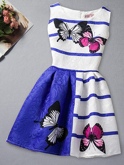 Blue and White A-Line Contrast Stripe Butterfly Pattern Located Printing Girl Dress for Casual Party
