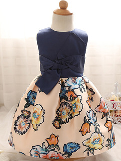 Blue Colorful A-Line Linking Printed Butterfly Knot Band Belt Back Girl Dress for Casual Party