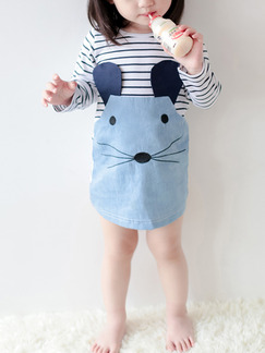 Blue and White Knitted Denim Linking Round Neck Stripe Pattern Long Sleeve Girl Dress for Casual