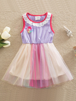 Colorful A-Line Mesh Linking Contrast Round Laced Neck Girl Dress for Casual Party