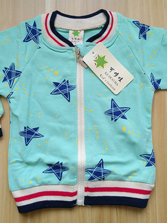 Sky Blue Knitted Contrast Linking Stand Collar Stripe Printed Long Sleeve Boy Jacket for Casual