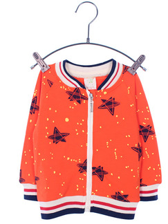 Orange Knitted Contrast Linking Stand Collar Stripe Printed Long Sleeve Boy Jacket for Casual