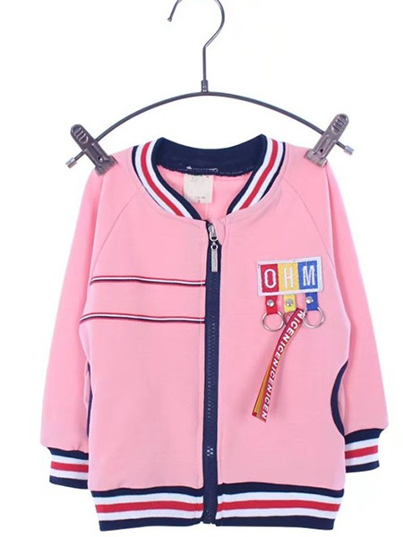 Pink Knitted Stand Collar Contrast Linking Stripe Printed Long Sleeve Girl Jacket for Casual