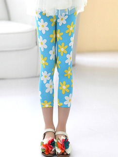 Blue White and Yellow Contrast Tight Printed Three Quarter Girl Pants for Casual