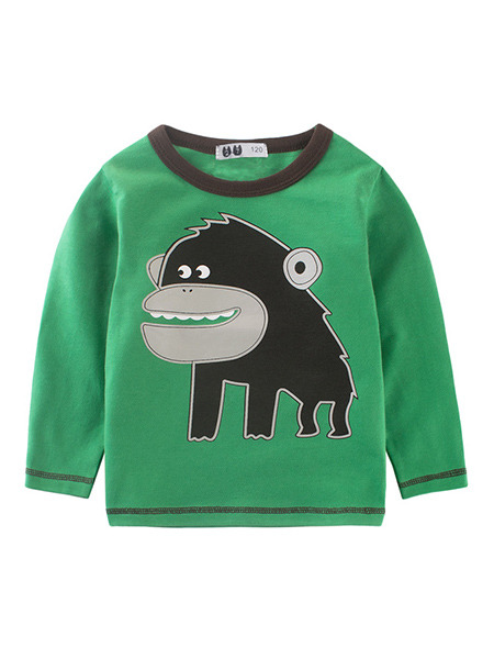 Green and Black Knitted Contrast Linking Round Neck Pattern Located Printing Long Sleeve Boy Shirt for Casual