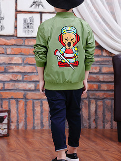 Green Stand Collar Zipper Two-Pocket Pattern Located Printing Long Sleeve Boy Jacket for Casual