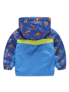 Blue Colorful Contrast Hooded Printed Two-Pockets Water-Proof Plus Cashmere Long Sleeve Boy Jacket for Casual