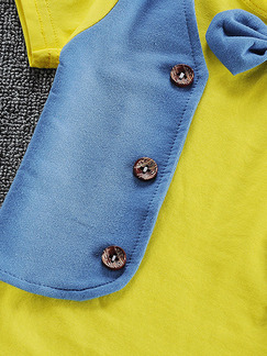 Yellow and Blue Two-Piece Linking Contrast Buttons Round Neck Tie Girl Jumpsuit for Casual