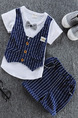 Blue and White Two-Piece Linking Stripe Buttons Round Neck Tie Girl Jumpsuit for Casual