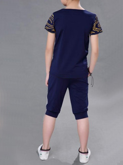 Blue Knitted Two-Piece Round Neck Contrast Pattern Letter Located Printing Boy Jumpsuit for Casual