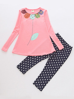 Blue and White Pink Knitted Two-Piece Linking Round Neck/Wave Point Tight Long Sleeve Girl Jumpsuit for Casual