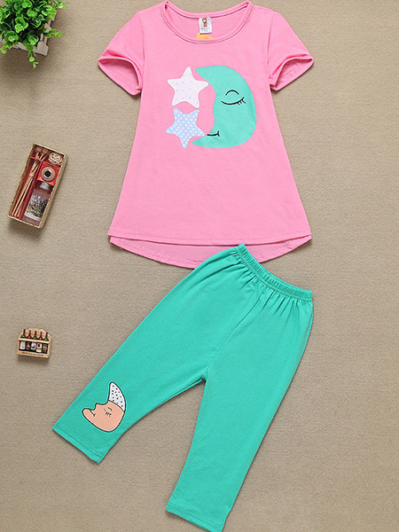 Pink and Green Knitted Two-Piece Contrast Pattern Located Printing Girl Jumpsuit for Casual