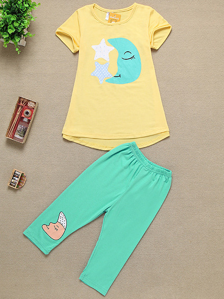 Yellow and Green Knitted Two-Piece Contrast Pattern Located Printing Girl Jumpsuit for Casual