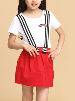 Red and White Contrast Linking Fake Straps Butterfly Knot Seem-Two Girl Dress for Casual Party