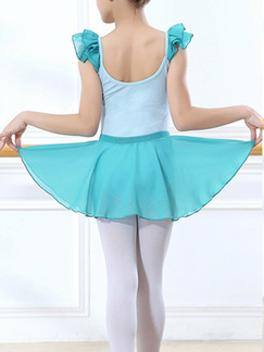 Turquoise Two-Piece Ruffled Contrast Stripe Shoulder U-Shaped Back Gauze Skirt Butterfly Knot Girl Ballet for Ballet
