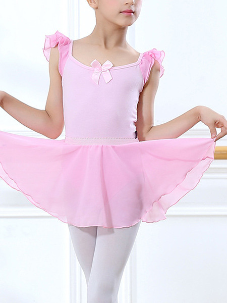 Pink Two-Piece Ruffled Contrast Stripe Shoulder U-Shaped Back Gauze Skirt Butterfly Knot Girl Ballet for Ballet