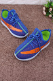 Blue and Orange Polyester Lace Up Comfort Boy Shoes for Casual Party