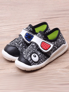 Black and White Polyester Comfort Boy Shoes for Casual