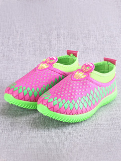 Pink and Green Polyester Comfort Slip On Girl Shoes for Casual