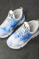White and Blue  Nylon Lace Up Comfort Girl Shoes for Casual