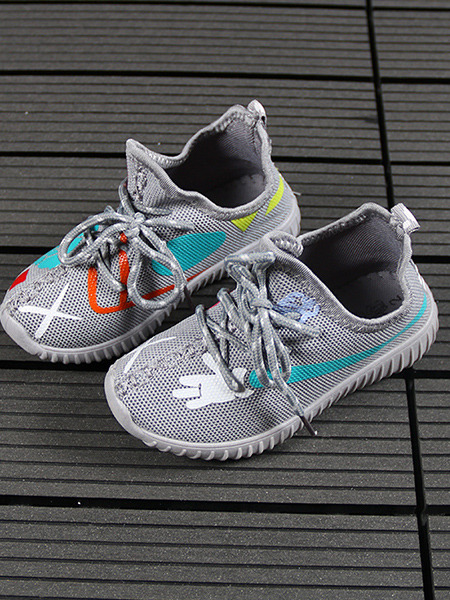 Grey Colorful Polyester Comfort Lace Up Boy Shoes for Casual