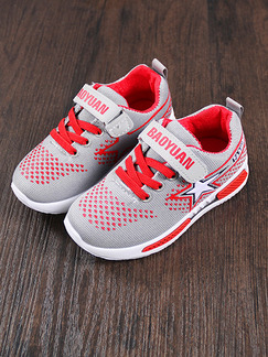 Red Grey and White Polyester Comfort Lace Up Boy Shoes for Casual