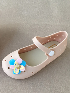 Beige PVC Comfort Flats Girl Shoes for Casual Party