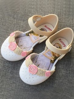Beige White and Pink PVC Comfort Flats Girl Shoes for Casual Party