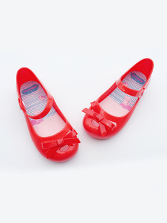 Red PVC Comfort Flats Girl Shoes for Casual Party