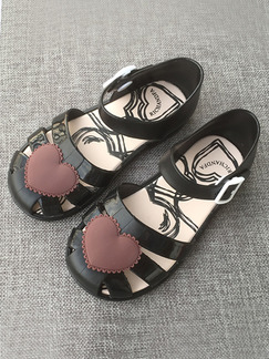 Black and Brown PVC Comfort Flats Ankle Strap Girl Shoes for Casual Party