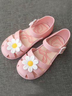 Pink PVC Comfort Flats Ankle Strap Girl Shoes for Casual Party