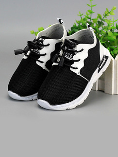Black and White Polyester Comfort Lace Up Boys Shoes for Casual Party
