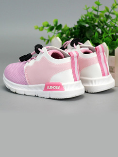 Pink and White  Nylon Comfort Lace Up Girl Shoes for Casual Party