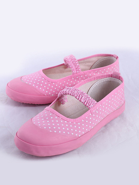 Pink Canvas Comfort Flats Girl Shoes for Casual Party