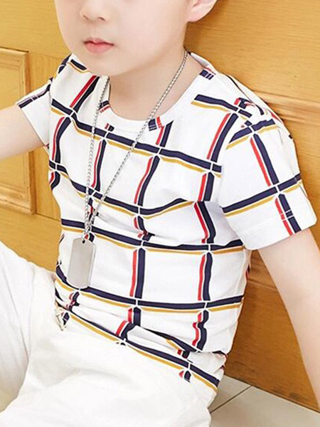 While Black and Red Slim Round Neck Contrast Grid Boy Shirt for Casual
