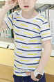 Colorful Slim Round Neck Contrast Stripe Boy Shirt for Casual