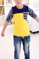 Yellow Blue and White Slim Round Neck Contrast Stripe Long Sleeve Boy Shirt for Casual