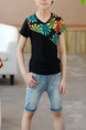 Black Colorful Slim V Neck Located Printing Boy Shirt for Casual