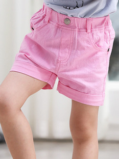 Pink Adjustable Waist Pockets Crimping Girl Shorts for Casual