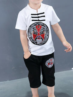 Black White and Red Plus Size Two-Piece Chinese Buttons Round Neck Embroidery Boy Suit for Casual