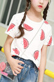 White and Red Plus Size Round Neck Printed Girl Shirt for Casual Party