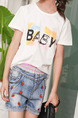 White Black Colorful Plus Size Round Neck Letter Printed Girl Shirt for Casual