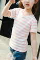 Pink and White Plus Size Contrast Stripe Round Neck Girl Shirt for Casual