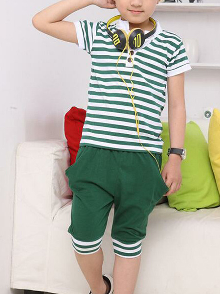 Green and White Plus Size Two-Piece Contrast Stripe Stand Collar Halen Rib Legs Boy Suit for Casual Party